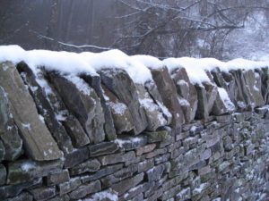 Dry Stone Wall with Snow